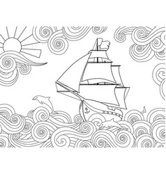 Contour image of ship on the wave in zentangle vector