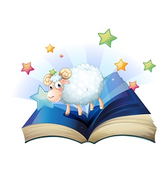 An open book with an image of a sheep vector image