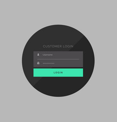 Dark customer login form in simple style vector