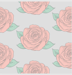 seamless pattern with drawn flowers roses vector image