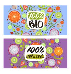 Bio food horizontal flyers set vector