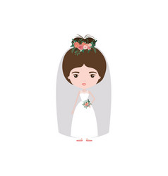 Colorful caricature cute woman in wedding dress vector