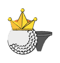 Golf ball with crown and tee icon imag vector