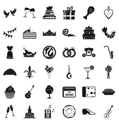 Birthday banquet icons set simple style vector