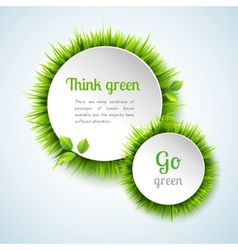 Grass double circle frame set vector