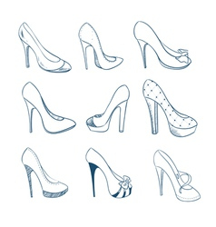 Set of nine shoes Sketch style vector image