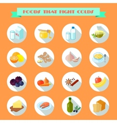 Food for cold icons vector