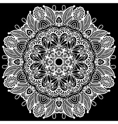 Black and white beautiful vintage circular pattern vector