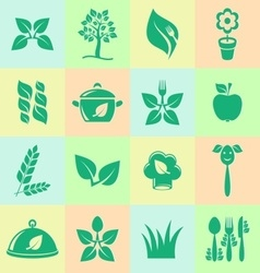 Organic cooking icons vector