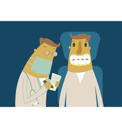 Patient with dentist in a dental treatment vector