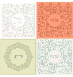 Abstract hipster line art frame vector