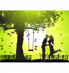 Couple at sunset vector