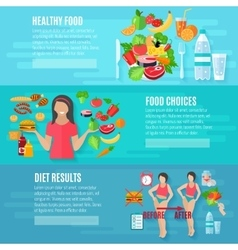 Weight loose diet flat banners set vector