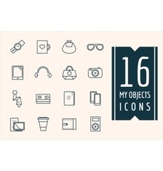 Personal objects icons set mobile vector