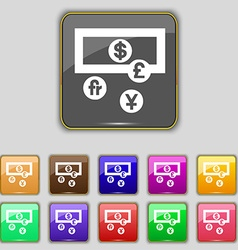 Currencies of the world icon sign set with eleven vector