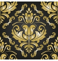 Damask seamless golden pattern vector