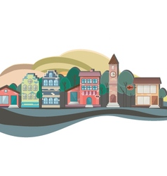 Colorful nature flat design landscape cityscape vector
