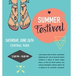 Bohemian summer event poster boho style vector