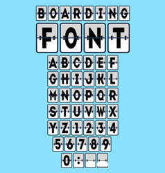 analog boarding font template set vector image