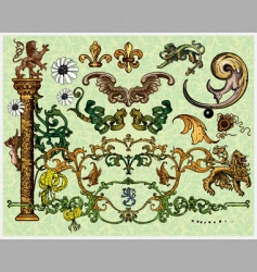 antique decoration elements vector image