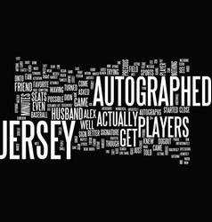 Autographed jersey text background word cloud vector