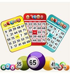Bingo cards and set of bingo balls on white vector image