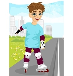 Boy skating on rollerblades on sidewalk vector