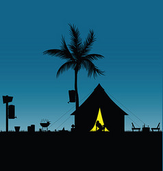 camping in nature with girl pretty silhouette vector image