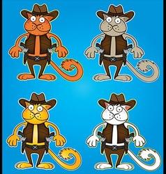 Cartoon cowboy cat with gun vector