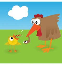 chicken and worm vector image