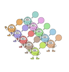 Color cute creatures with speak bubble vector