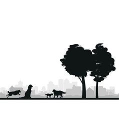 dog cityscape background vector image vector image