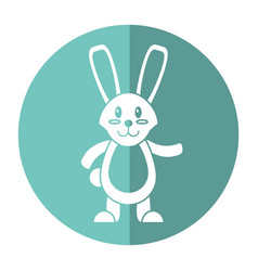 Easter bunny cute standing shadow vector