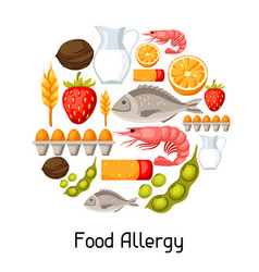 Food allergy background with allergens and symbols vector