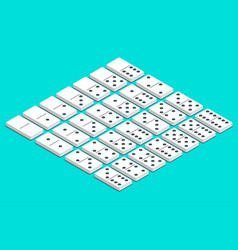Full set of white isometric dominoes complete vector