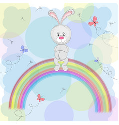 happy rabbit vector image