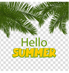 hello summer green palm leaf transparent vector image vector image
