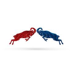 ibex fighting mountain goat battle vector image