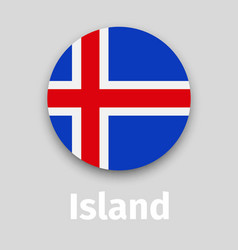 iceland flag round icon with shadow vector image