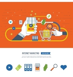 Internet and mobile marketing online shopping vector