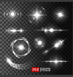 light flashes and star sparkles icons vector image vector image
