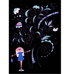 Little girl with tree vector image vector image