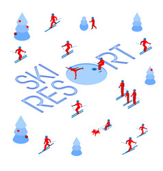 Lot of people skiing around words ski resort vector