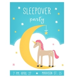 Moon and Unicorn Sleepover Kids Party Card vector image vector image