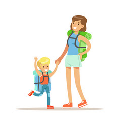 mother and her son with tourists backpacks vector image