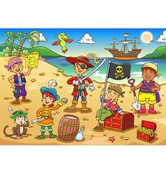 Pirate child cartoon vector