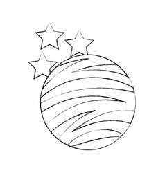 Planet mars with stars icon vector