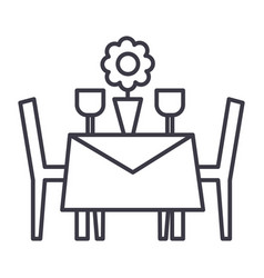 restaurant table with chairs line icon vector image vector image