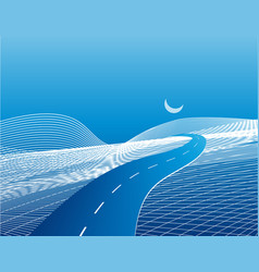 Road and highway on a stylized abstract map with vector