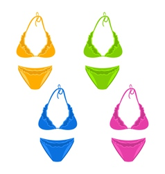 set colorful female swimsuit or underwear isolated vector image